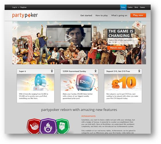Party Poker Homepage